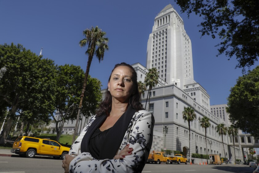 Beth Kennedy, a chief internal auditor for City Controller Ron Galperin, outside L.A. City Hall.