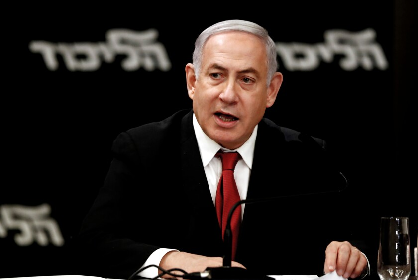 Israeli Prime Minister Benjamin Netanyahu attends a meeting in Jerusalem in September after official results in the second election.