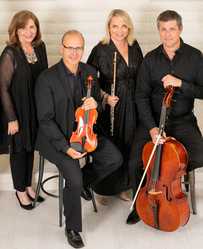 Flutist Beth Ross-Buckley (second from right) will lead the Camarada ensemble in its concert at the Athenaeum Music & Arts Library in La Jolla.