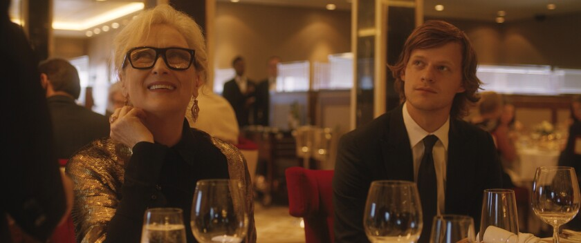 "Meryl Streep and Lucas Hedges dine aboard a cruise ship in the movie ""Let Them All Talk."""