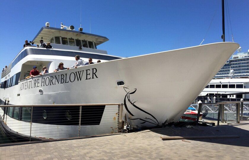 Three passengers were hospitalized after this Hornblower passenger cruise ship rammed into the Embarcadero on Thursday. San Diego Union-Tribune photo by Nelvin Cepeda