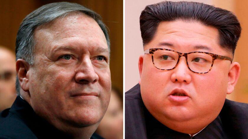 CIA Director Mike Pompeo and North Korean leader Kim Jong Un.