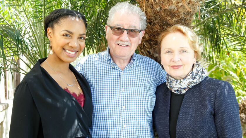 SAN DIEGO, CA May 30th 2018 | Nora Carroll, Joe Dowling, and Kate Burton pose for photos in Alcazar
