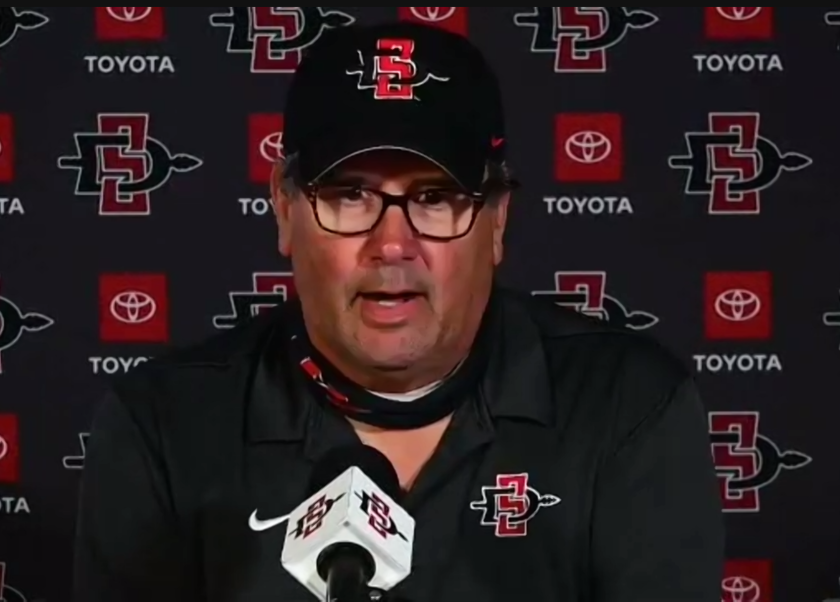 San Diego State football coach Brady Hoke speaks with the media Tuesday morning on a Zoom call.