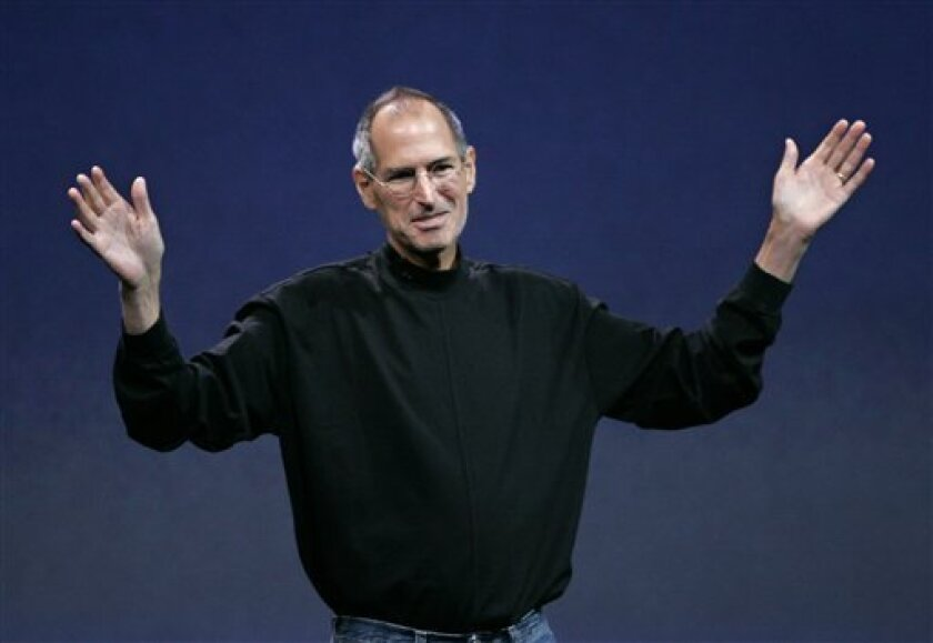 In this Sept. 9, 2008 file photo, Apple Inc. CEO Steve Jobs waves goodbye after a product announcement in San Francisco.  Shares of Apple Inc. fell 4 percent Thursday, Jan. 15, 2009, as investors struggled to parse the latest disclosure from Jobs about his health and his need to go on leave until