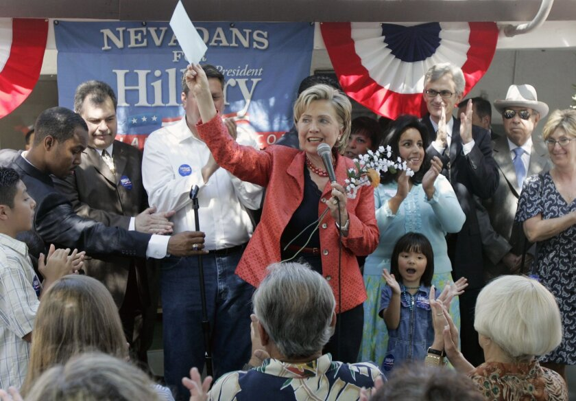 FILE - In this Aug. 9, 2007 file photo, Democratic presidential candidate, then-Sen. Hillary Clinton, D-N.Y. speaks in Las Vegas, Nev. Now that Iowa and New Hampshire are in the rear-view mirror, the Democratic presidential contest shifts to markedly different terrain in Nevada, whose largely urban