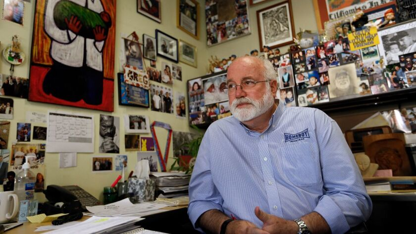 Father Gregory Boyle, executive director and founder of Homeboy Industries, in his office.