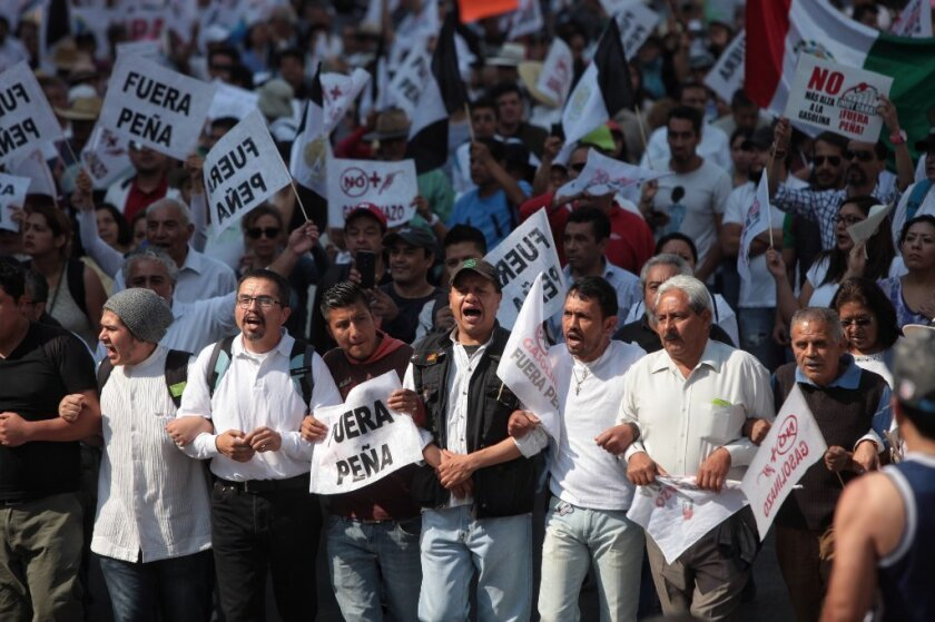 Protests call for Mexico's president to step down after his government raised gasoline prices.