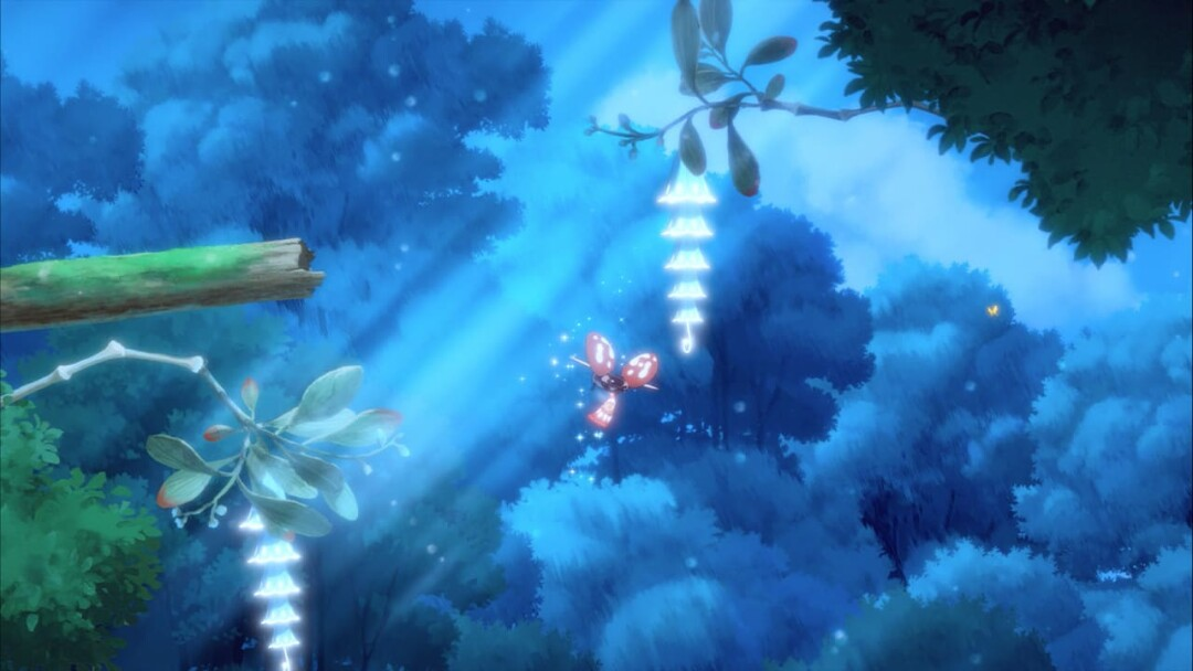 A tiny fairy floats among glowing plants against a cloudy sky.