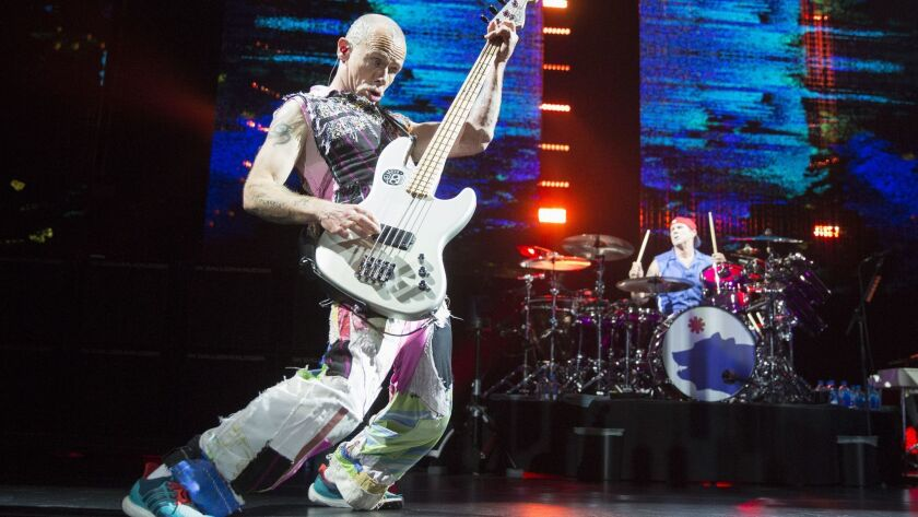 LOS ANGELES, CALIF. -- TUESDAY, MARCH 7, 2017: Bassist Flea of The Red Hot Chili Peppers in concert