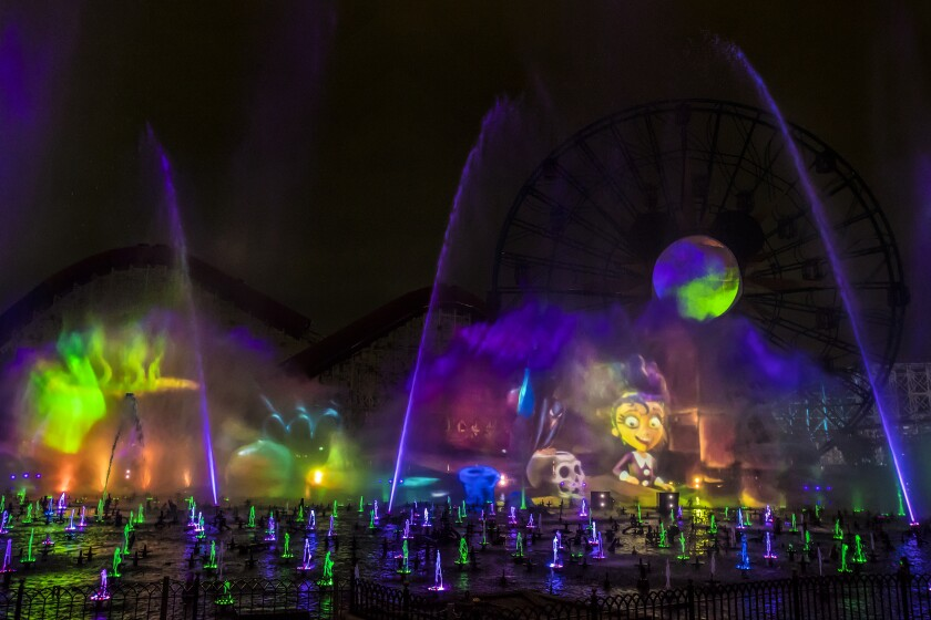 """""""Villainous!"""" is a new """"World of Color"""" show, exclusive to the new separate ticket event, Oogie Boogie Bash – A Disney Halloween Party at Disney California Adventure Park, beginning Sept. 17, 2019, for 20 select nights."""