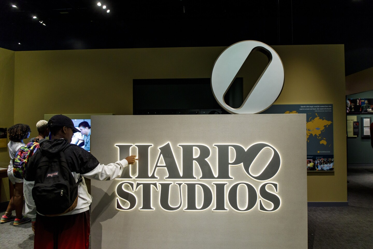 """A Harpo Studios sign inside the special exhibit """"Watching Oprah: The Oprah Winfrey Show and American Culture"""" on July 10, 2018, at the National Museum of African American History & Culture."""