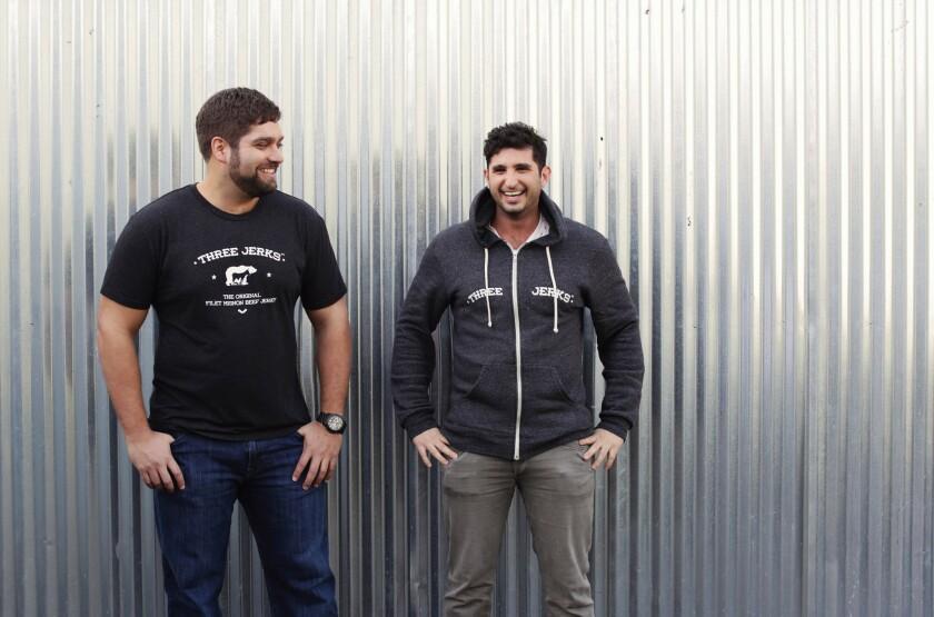 Daniel Fogelson, left, and Jordan Barrocas own Three Jerks Jerky.