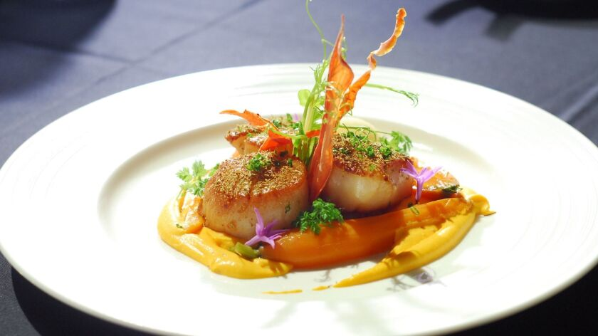 Fennel pollen-crusted Baja scallops at newly opened Ponsaty's Fine Dining & Lounge in Rancho Santa Fe.