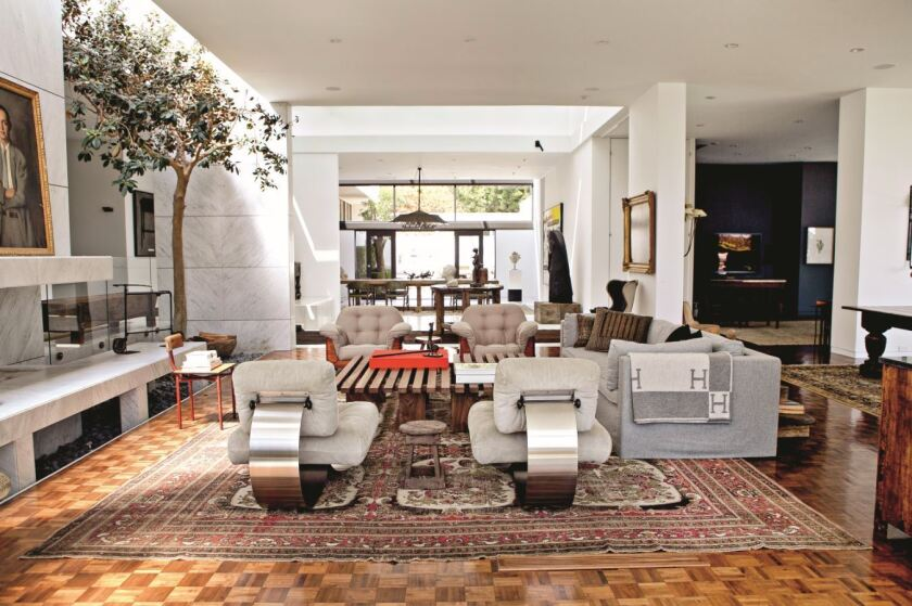 The Cite side chair by Jean Prouve, far left, makes an appearance in nearly every one of Ellen DeGeneres' homes, including this 1956 Hal Levitt-designed home in Trousdale Estates.