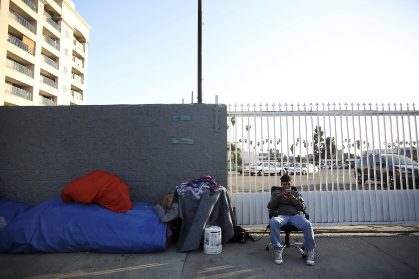 Drew Blair has lived on the corner of Tamarind and Carlos avenues in Los Angeles for more than a month.