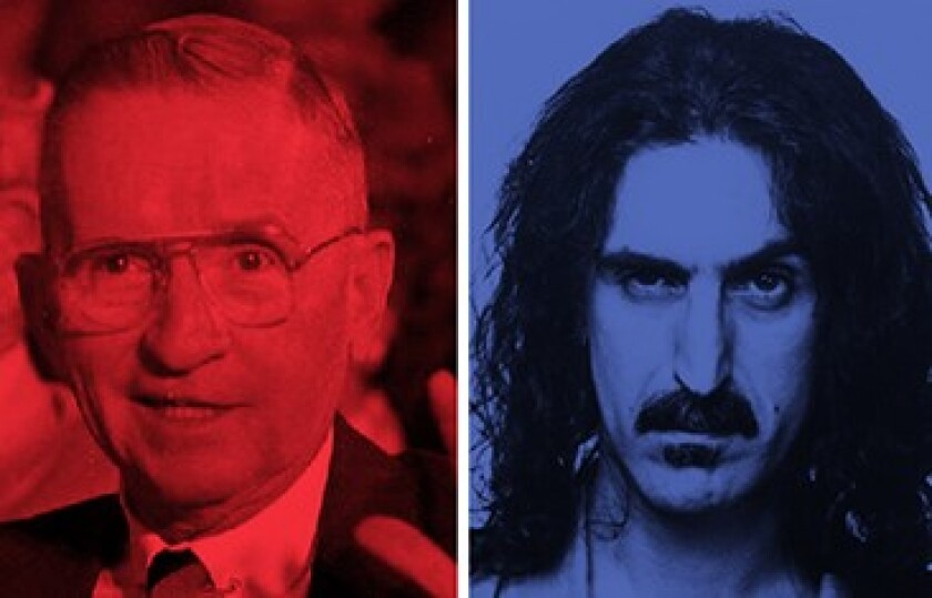 H. Ross Perot (left) and Frank Zappa, White House running mates? In 1991, that is exactly what former San Diegan Zappa had in mind.