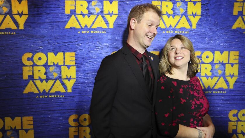 """Come From Away"" co-creators David Hein and Irene Sankoff attend the show's Toronto opening in 2016.å"