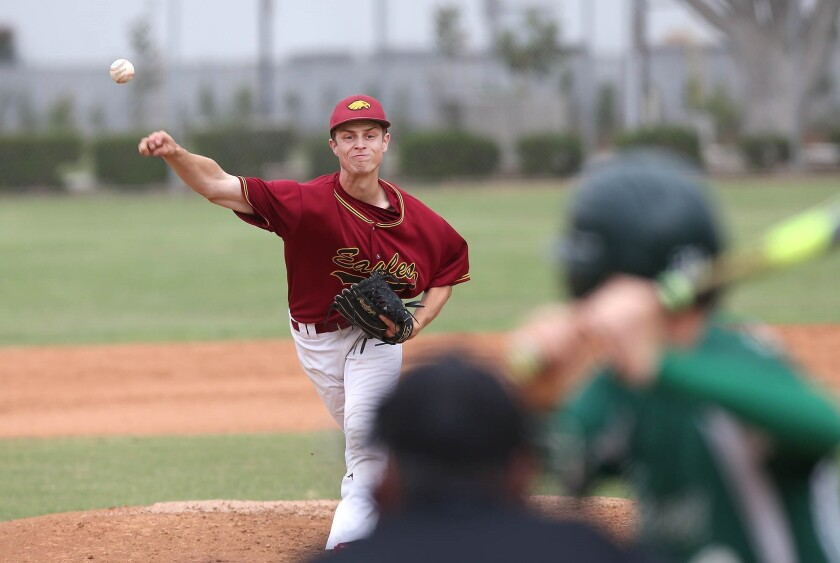 Estancia starting pitcher Jake Covey delivers against Costa Mesa during a tiebreaker game to determine second place in the Orange Coast League on May 11, 2018.