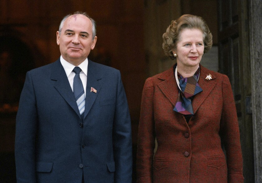 """British Prime Minister Margaret Thatcher, in this Dec. 15, 1984, file photo from a visit by Mikhail S. Gorbachev, was the first Western leader to see reform potential in the future Kremlin chief. She was remembered after her death Monday for her insight into the changes that would free millions from communist dictatorship later that decade. Gorbachev, himself in failing health, issued a statement hailing Thatcher as """"a big-time politician and a bright personality."""""""