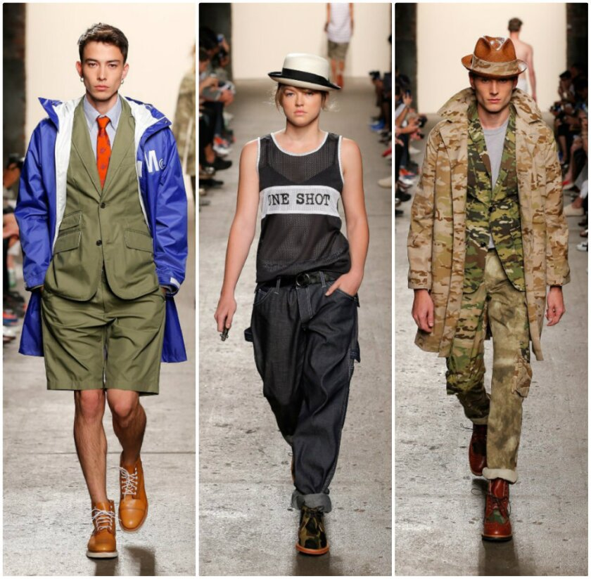 Mark McNairy's arsenal included not just traditional camo versions, but also digi-camo and blue floral camo, with camouflage appearing on trousers.