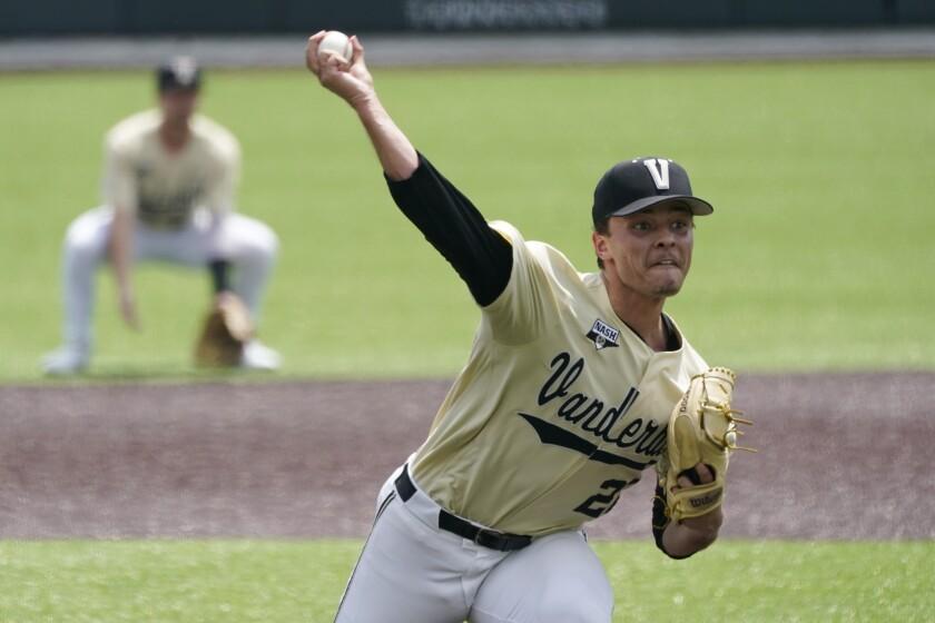 Vanderbilt pitcher Jack Leiter throws against East Carolina during the first inning of an NCAA college baseball super regional game Saturday, June 12, 2021, in Nashville, Tenn. (AP Photo/Mark Humphrey)