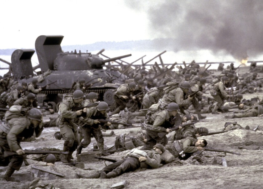 **FILE**In this undated Dreamworks photo from files, American forces storm Omaha Beach during the D-
