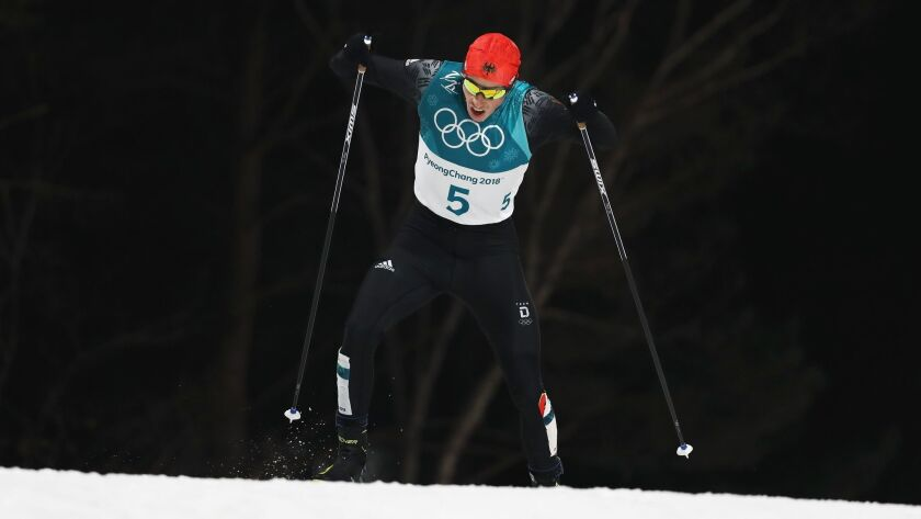 Germany's Eric Frenzel competes in the Nordic combined at the Pyeongchang Winter Olympics on Feb. 14.