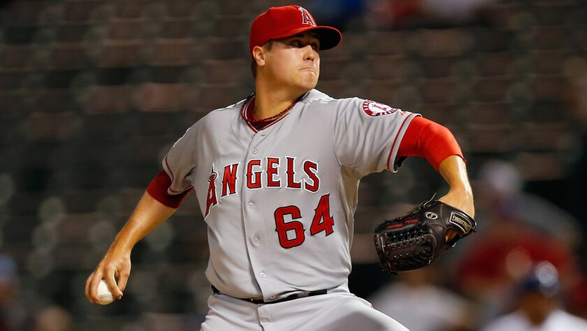 Angels reliever Mike Morin delivers a pitch last season.