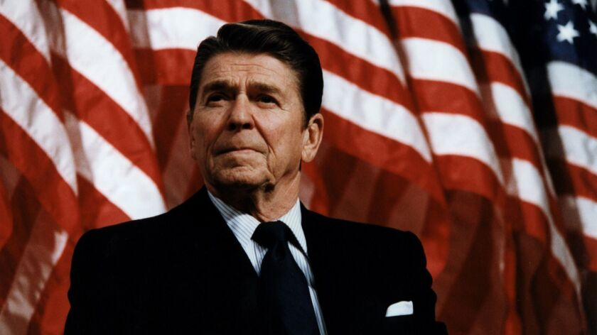 Ronald Reagan speaking at a rally in Minneapolis, Minnesota on February 8, 1982.