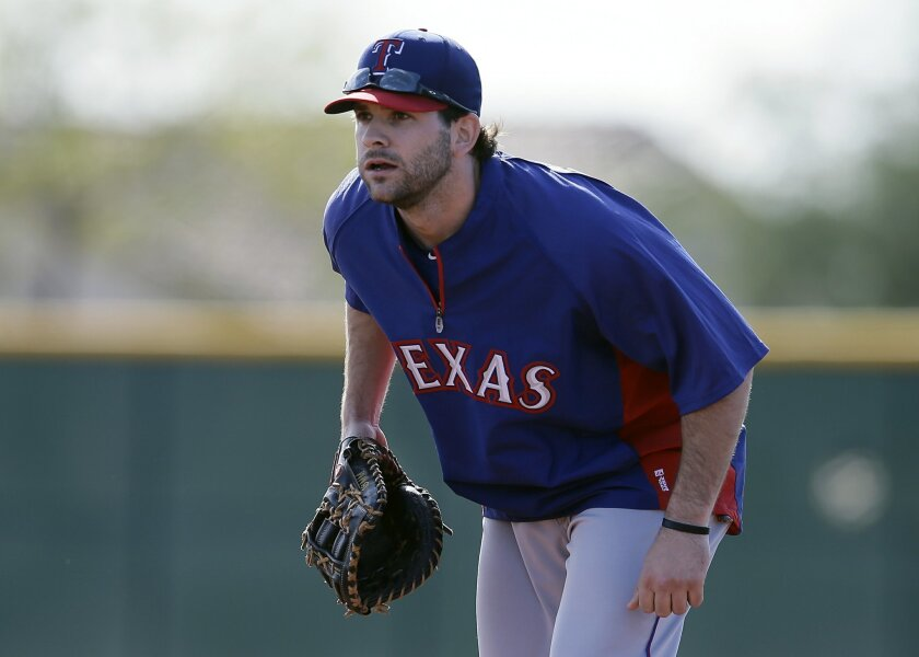 FILe - In this Feb. 18, 2014 file photo, Texas Rangers infielder Mitch Moreland (18) practices at spring training in Surprise, Ariz.  Moreland's role with the Rangers immediately changed when they acquired slugger Prince Fielder. There was even some uncertainty if Moreland would still be with Texas