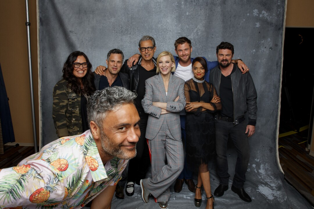 """The cast of the film """"Thor: Ragnarok,""""  photographed in the L.A. Times photo studio at Comic-Con 2017"""