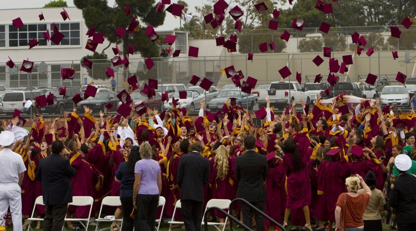Following their graduation ceremony, Point Loma High School class of 2012 goes to the center of the field for the traditional throwing of their graduation caps.
