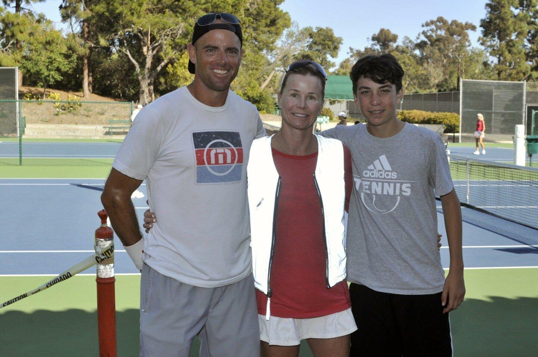 Rancho Santa Fe Tennis Club Head Pro Derek Miller, Gillian Gillies, Eric Silberman