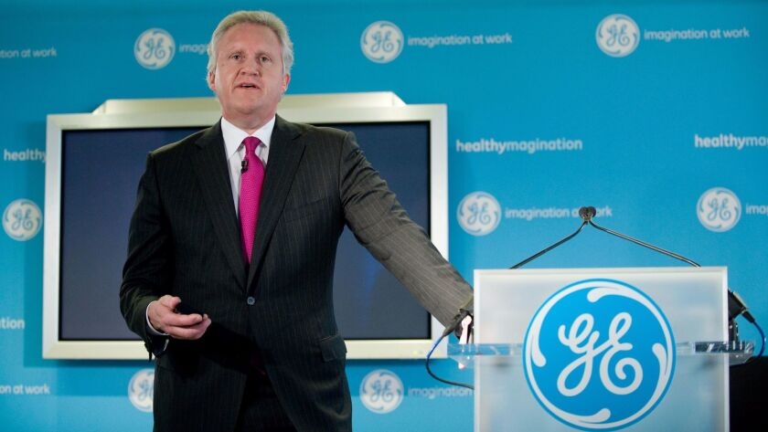 Jeff Immelt, who served as GE's chairman from 2001 until retiring earlier this month, is seen during a 2009 presentation.