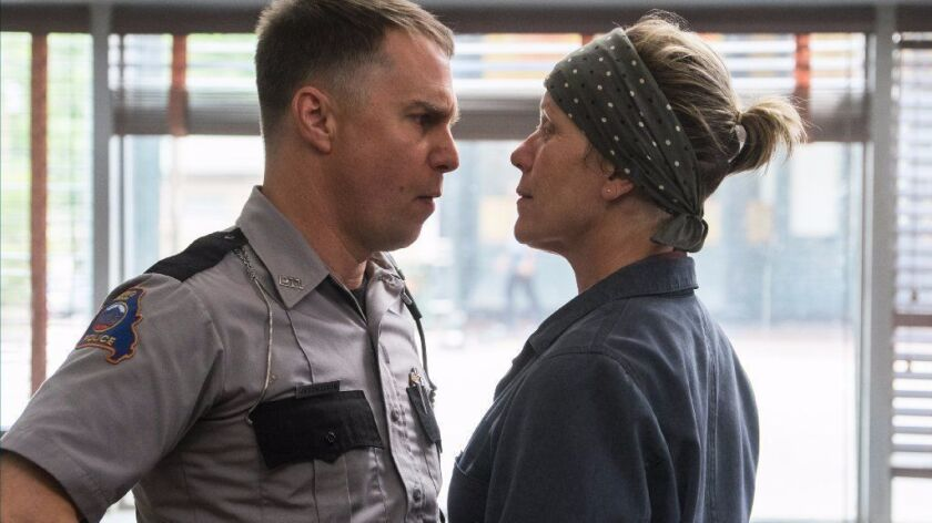 "Sam Rockwell and Frances McDormand in the film ""Three Billboards Outside Ebbing, Missouri."""