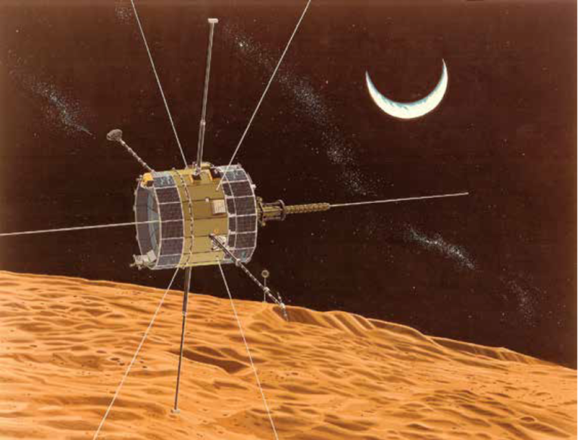 Engineers failed to resolve fuel system problems on NASA's retired ISEE-3 satellite Wednesday. An artist's rendition shows the spacecraft during a close lunar pass.