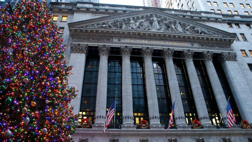 Christmas decorations adorn the facade of the New York Stock Exchange in December 2017.