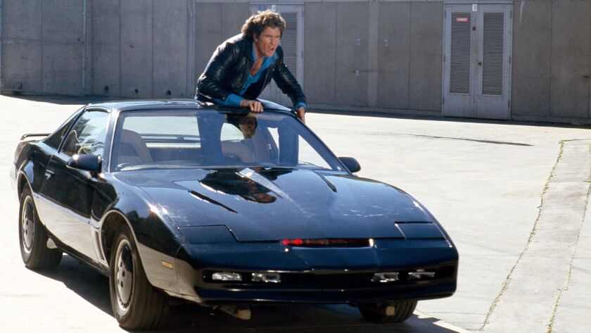 "David Hasselhoff as Michael Knight and KITT in ""Knight Rider."""