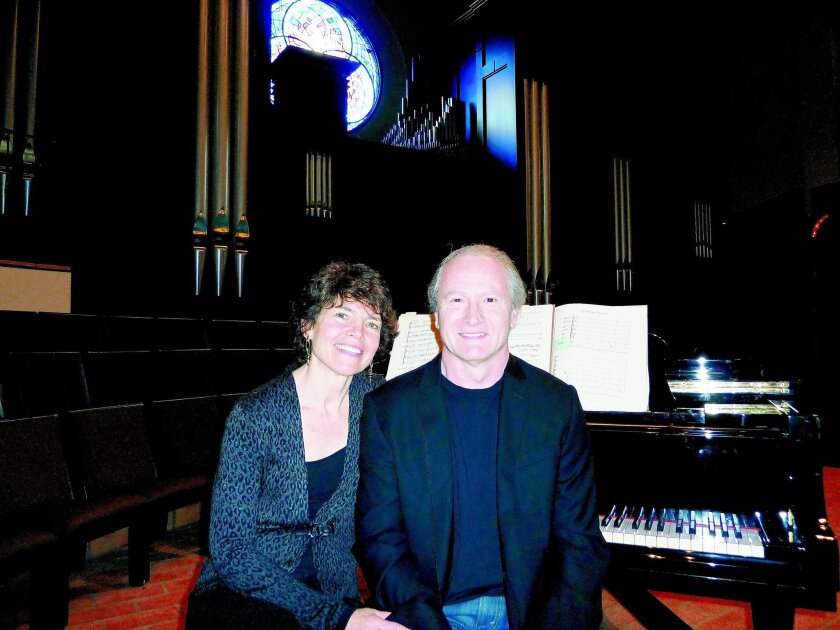 Helen and Rick Westerfield of the Pacific Bach Project inside the Village Church in Rancho Santa Fe. CREDIT: Pacific Bach Project