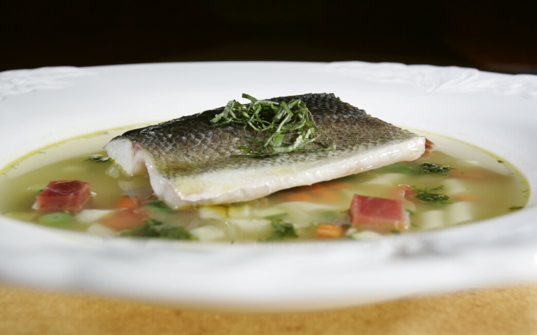 Branzino in vegetable minestrone