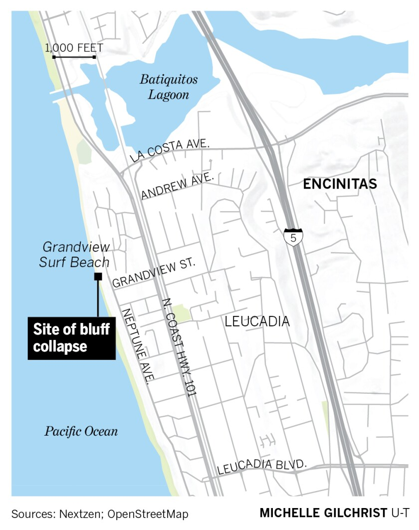 Site of bluff collapse in Leucadia