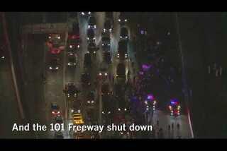 LA 90: Dozens arrested, police cars damaged in second night of anti-Trump protests in California