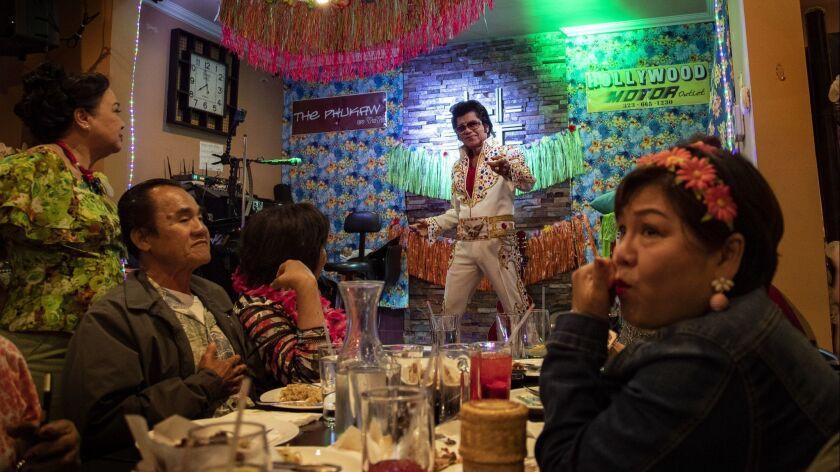 BURBANK, CA - MAY 19, 2018: Manuel Too GB (cq) known as Thai Elvis performs at Siri Thai Cuisine o