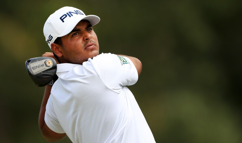 Sebastian Munoz plays from the fifth tee during the final round of the Sanderson Farms Championship on Sunday.