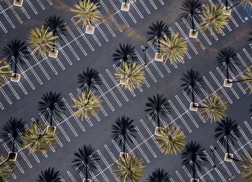 An empty shopping mall parking lot in San Diego on March 25.