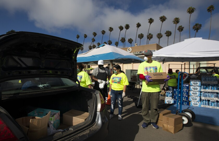 A food distribution in Oxnard on July 19.