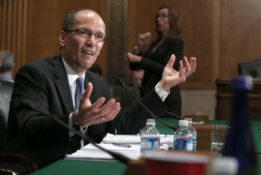 Labor Secretary nominee Thomas Perez testifies during his confirmation hearing before the Senate Health, Education, Labor and Pensions Committee on Capitol Hill.