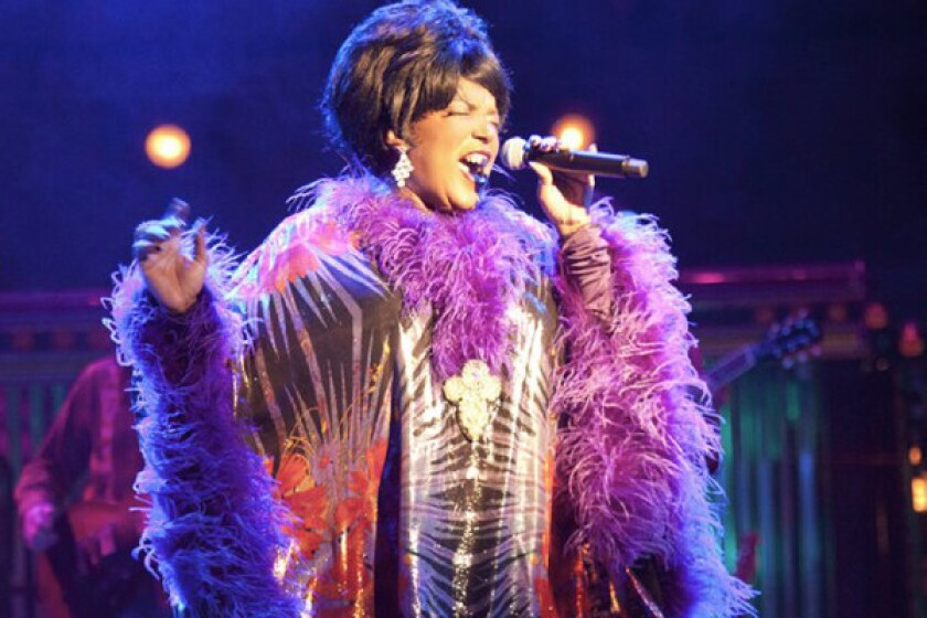 """Sabrina Elayne Carten as the Blues Singer in the play """"One Night With Janis Joplin."""""""