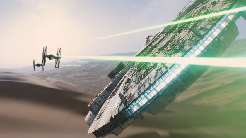 "This photo provided by Disney/Lucasfilm shows a scene from the new film, ""Star Wars: The Force Awake"